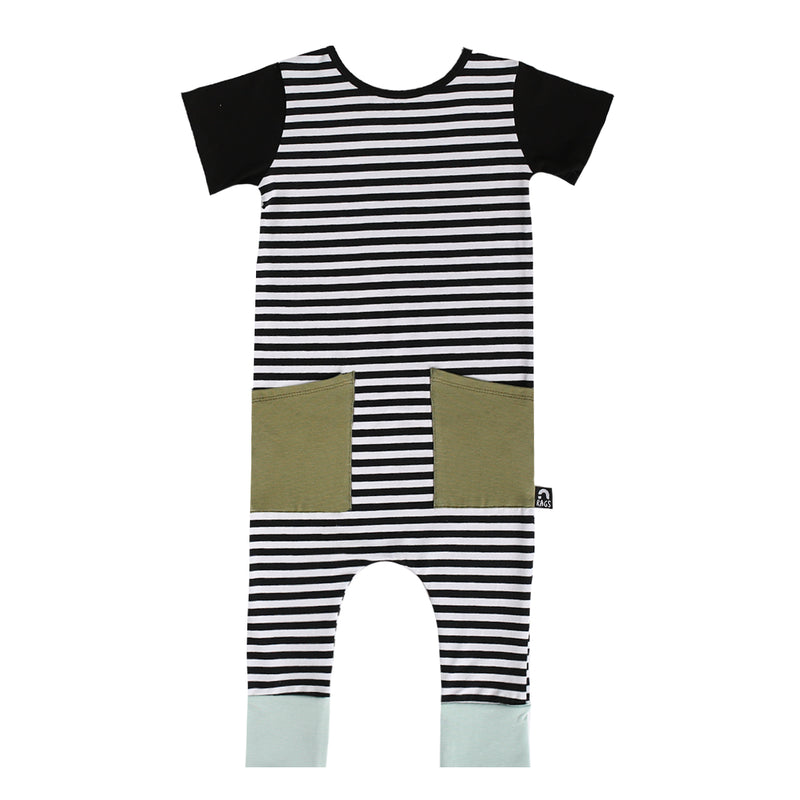 Short Sleeve Hip Pocket Rag Romper - 'Black & White Stripe' - Green Pocket