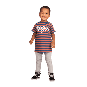 Kids Raglan Drop Back Tee Shirt  - 'Cursive RAGS' - Blue & Clay Stripe