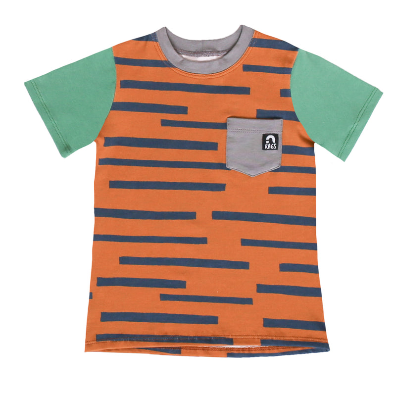 Short Sleeve Chest Pocket Kids Tee - 'Marker Stripe' - Sudan Brown