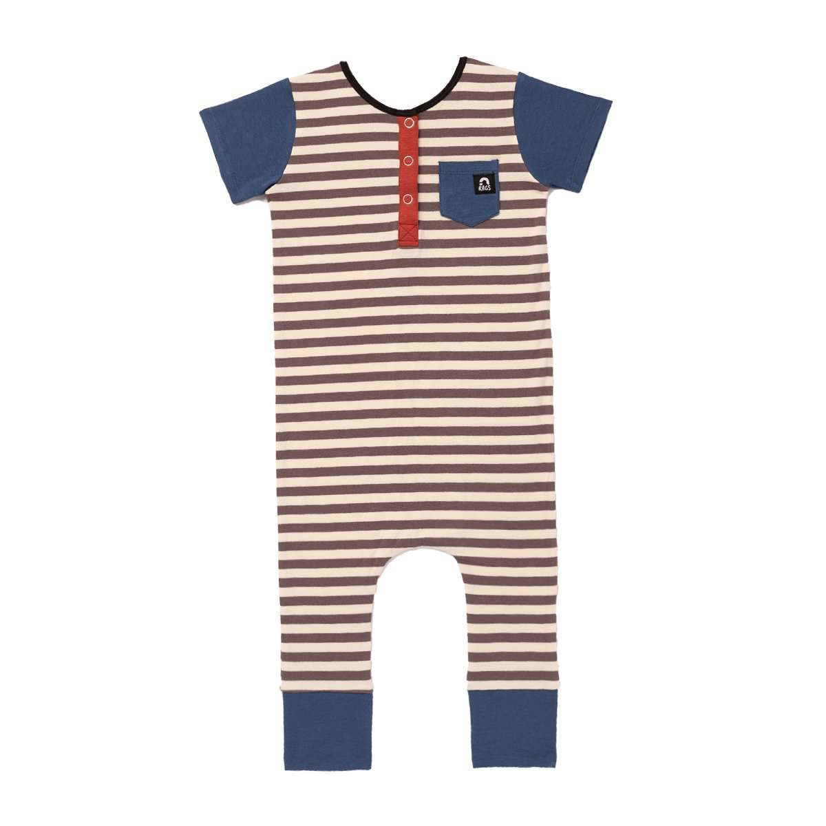 Image of Short Sleeve Henley Rag - 'Stripes' - Sepia and Eggnog Stripe