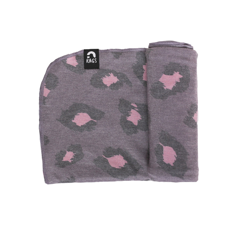 Baby Swaddle - 'Leopard Pattern' - Purple