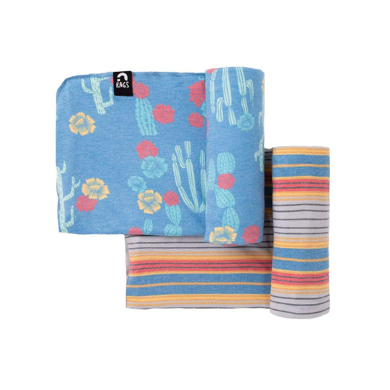 Baby Swaddle - 'Cacti Floral and Southwestern Stripes' - Two Pack