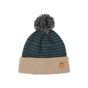 Kids Pom Beanie - 'Spruce Green & Black Stripe'