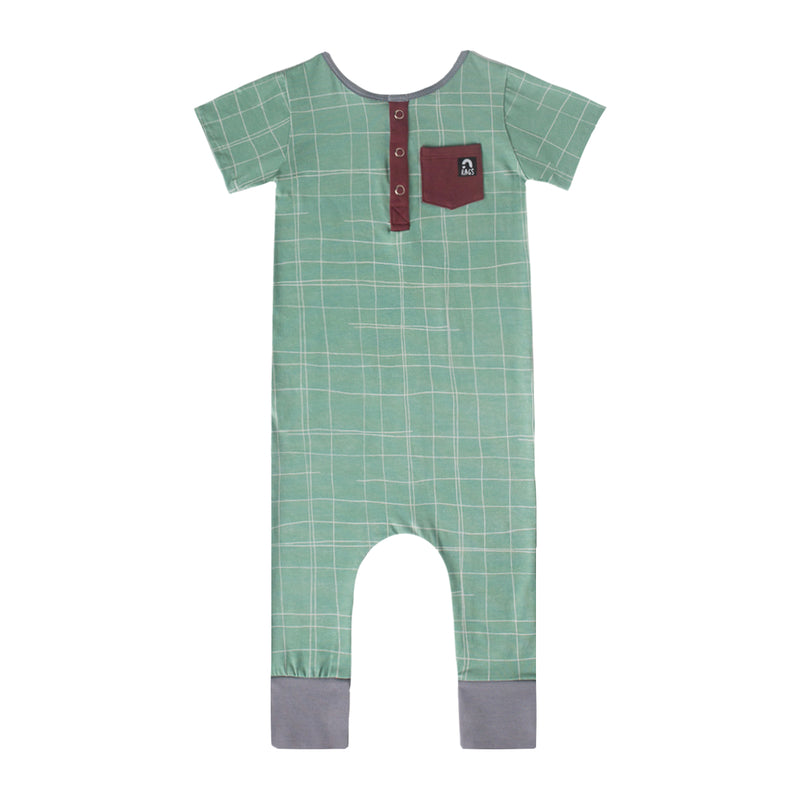 Short Sleeve Henley Rag - 'Partial Grid' - Granite Green