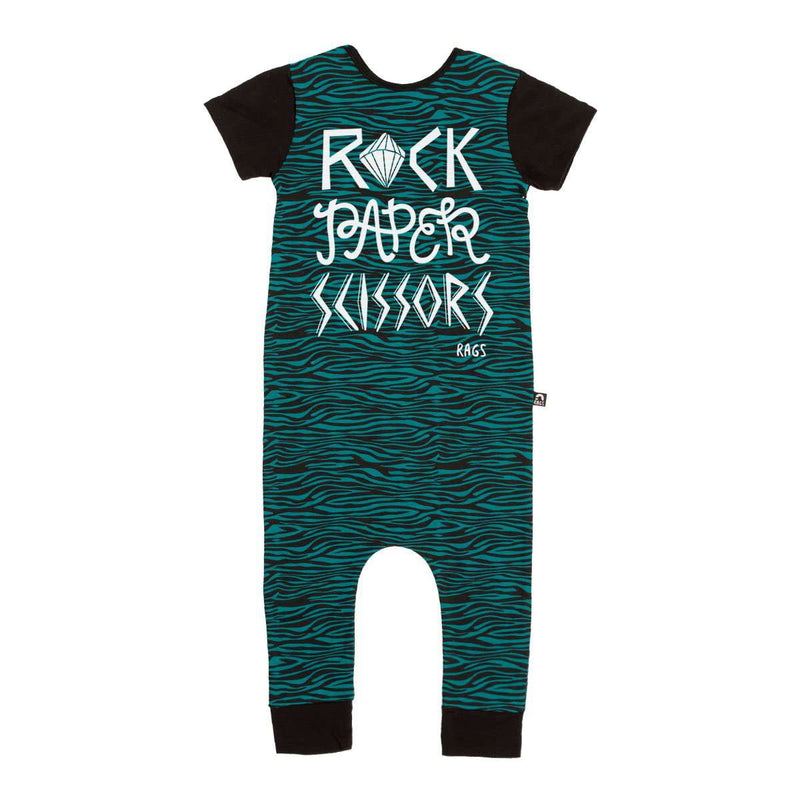 Short Sleeve Rag - 'Rock, Paper, Scissors' - Teal and Black Zebra Stripe