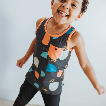 Kids Pocket Tank with Button - 'Abstract Shapes' - Phantom
