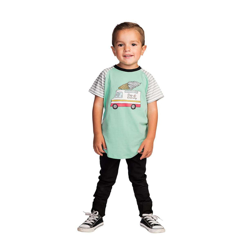 Kids Raglan Drop Back Tee Shirt  - 'RAGS Creamery' - Beach Glass