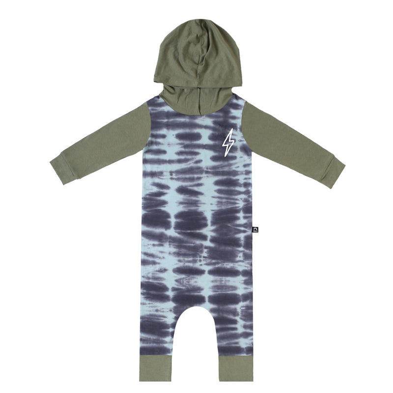 Long Sleeve Hooded Rag - 'Lightning' - Blue Tie Dye