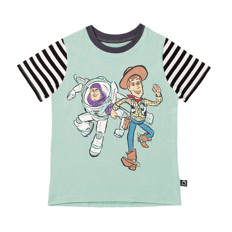 ***PREORDER*** Short Sleeve Tee - 'Vintage Buzz and Woody' - Disney Toy Story Collection from RAGS  - Granite Green