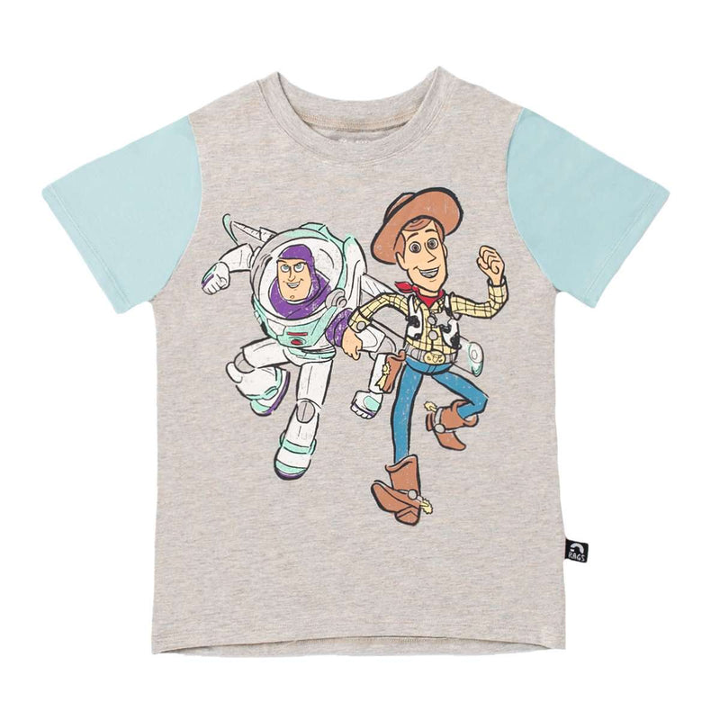 ***PREORDER*** Short Sleeve Tee - 'Buzz and Woody' - Toy Story Collection from RAGS  - Heather Grey