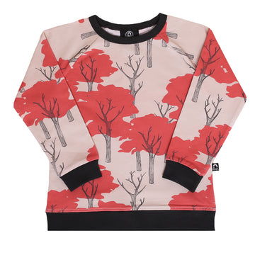 Kids Crewneck Sweatshirt - 'Fall Park Trees' - Rainy Day