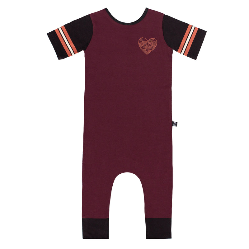 Retro Short Sleeve Rag - 'Geoheart' - Wine Red