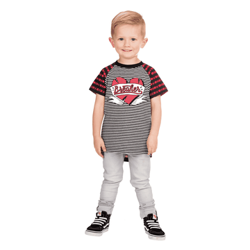 Kids Raglan Drop Back Valentine's Tee Shirt  - 'XOXO Heart Breaker'