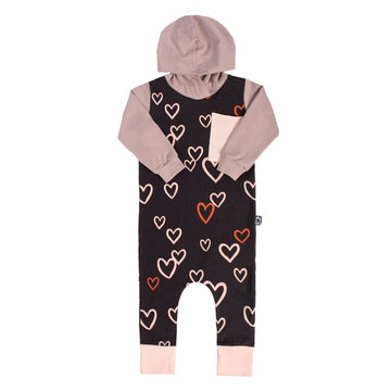 Long Sleeve Hooded Big Pocket Rag - 'Hearts' - Licorice