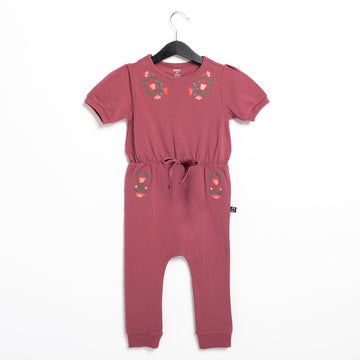 Puff Sleeve Gather Waist Rag Romper - 'Floral Embroidery' - Roan Rouge