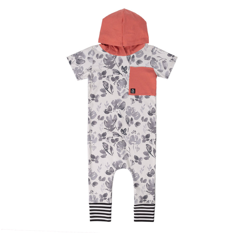 Short Sleeve Hooded Big Pocket Rag Romper - 'Watercolor Floral' - Black & White