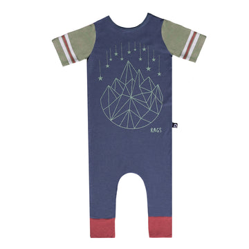 Retro Short Sleeve Rag Romper - 'Geostar' - Orion Blue