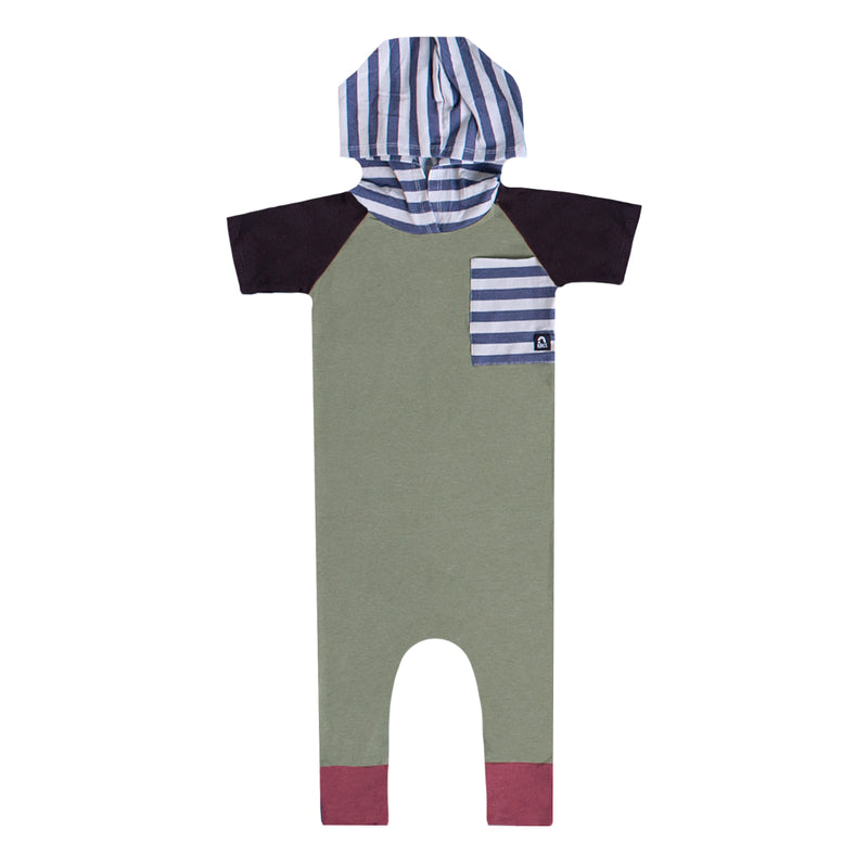Short Sleeve Raglan Big Pocket Hooded Rag - 'Oil Green' - Striped Pocket