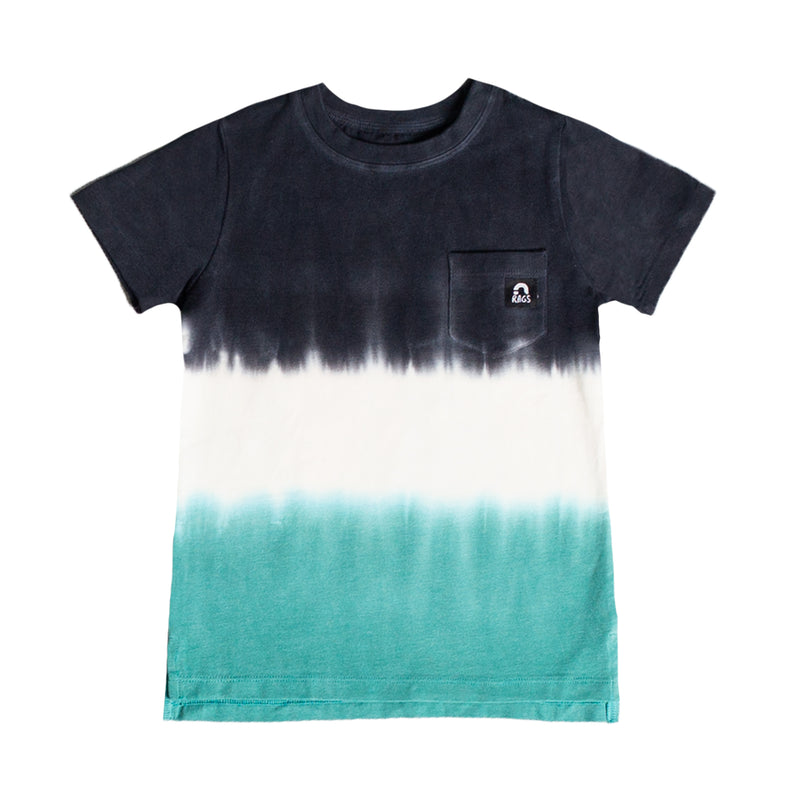 Short Sleeve Chest Pocket Kids Tee - 'Dip Dye' - Deep Lake & Licorice