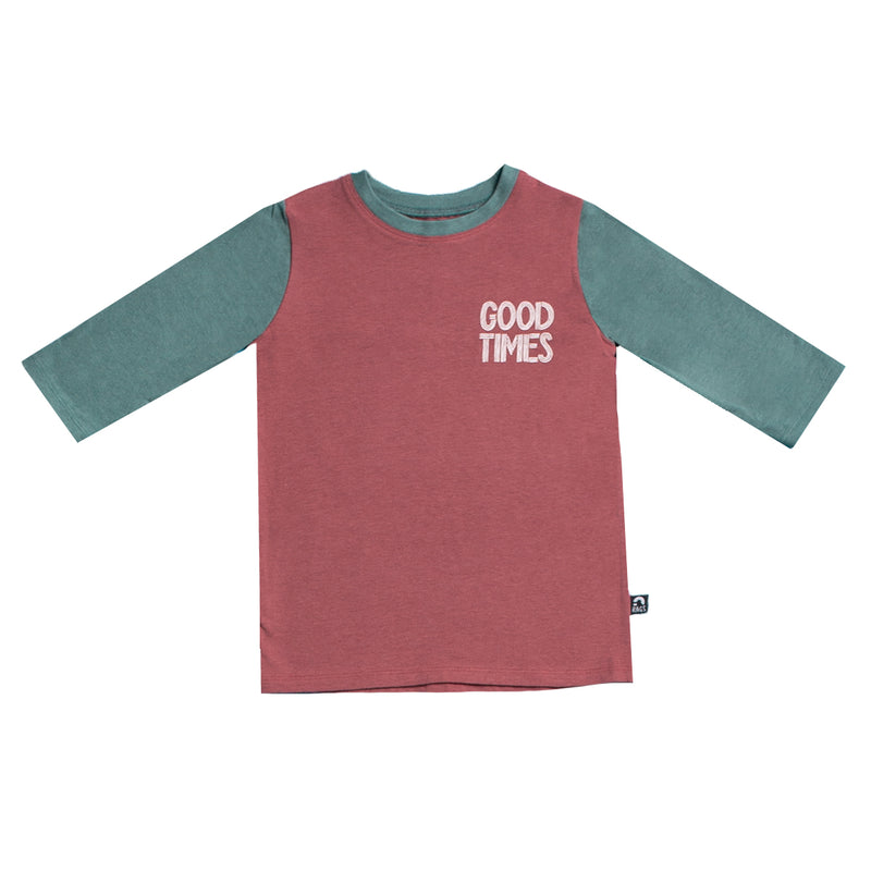 3/4 Sleeve Kids Tee - 'Good Times' - Apple Butter