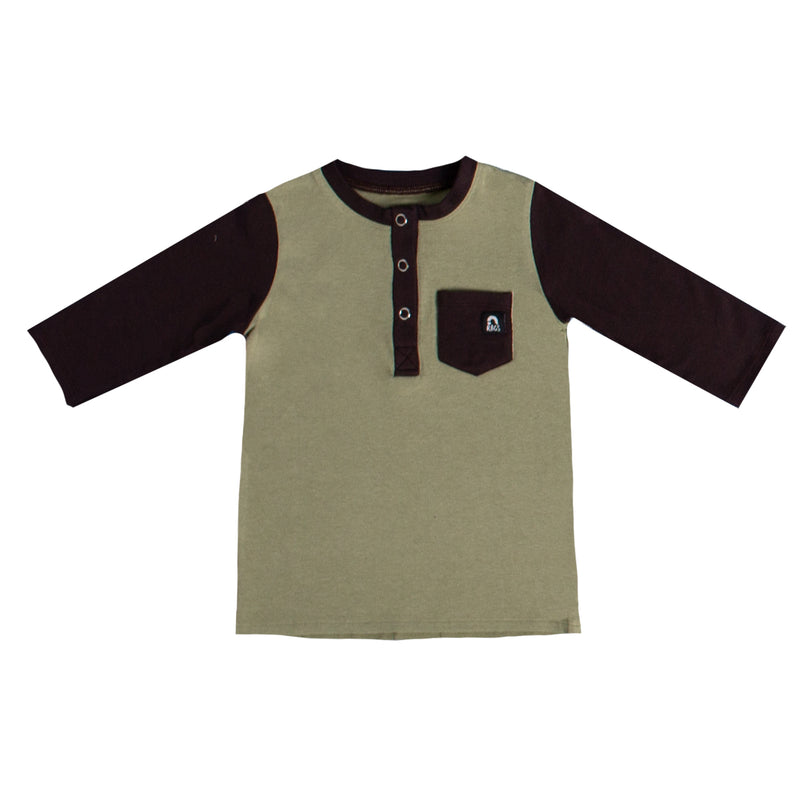 3/4 Sleeve Henley Kids Tee - 'Oil Green' - Striped Placket