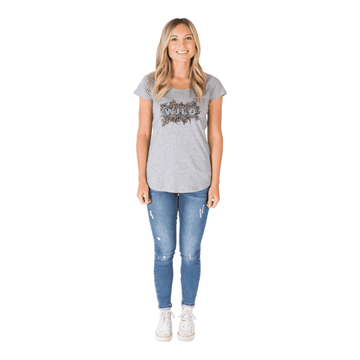 Women's Scoop Neck Tee - 'Wild Flowers' - Heather Grey