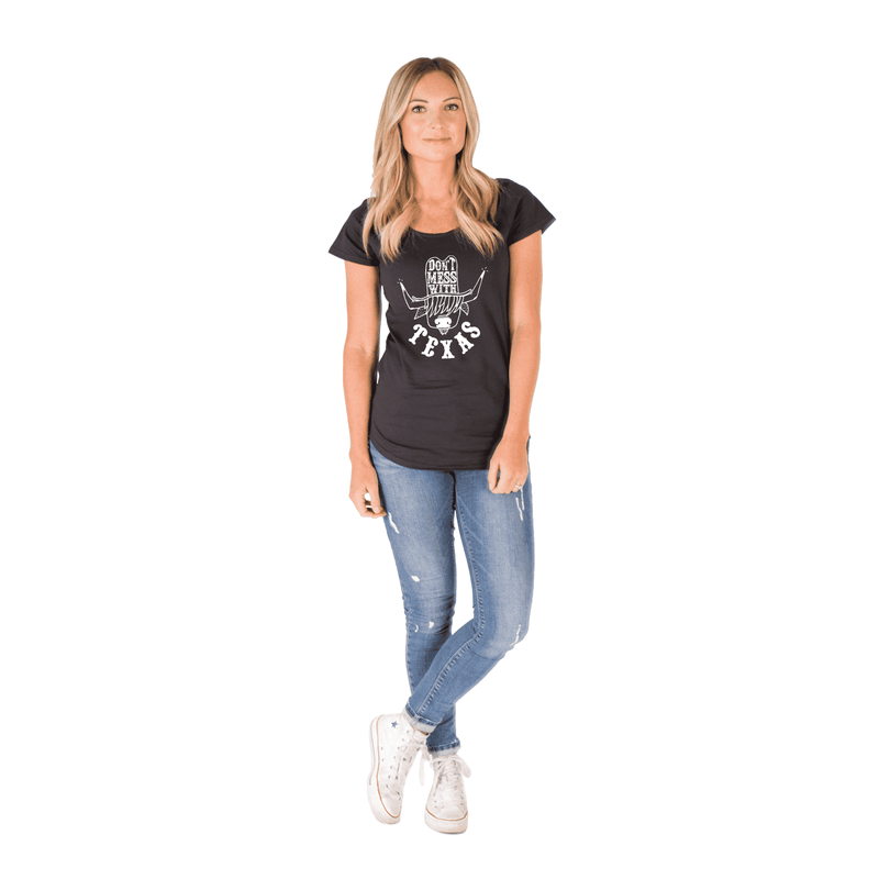 Women's Scoop Neck Tee Shirt - 'Don't Mess with Texas'