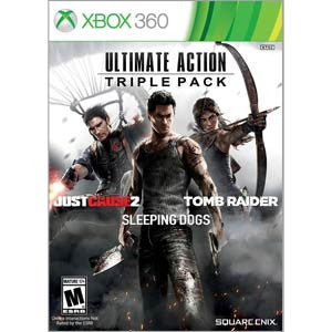 Ultimate Action Triple Pack- Xbox 360 Just Cause 2,Tomb Raider, Sleeping Dogs