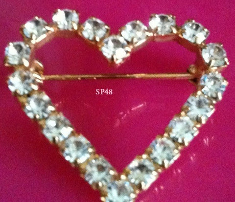 Gold Heart Rhinestone Stock Pin