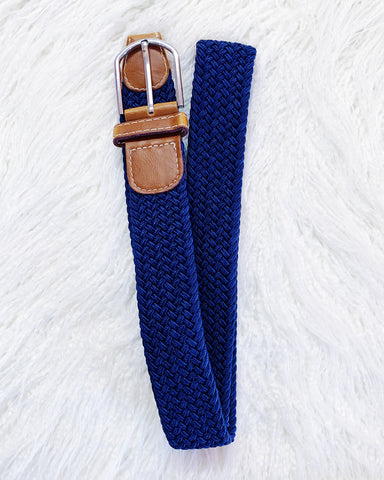 Navy Blue Plaited Stretch Belt