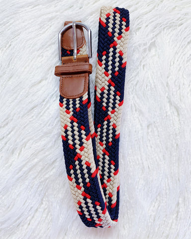 Urban Horsewear Stretch Belt Navy Blue Red Beige