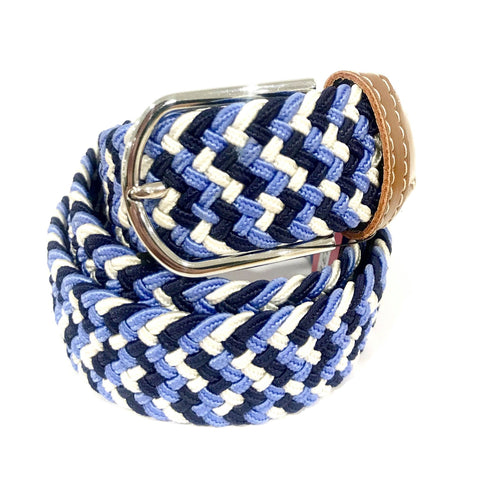 Navy Blue Sky Blue & White Plaited Stretch Belt
