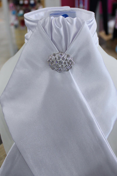 HHD White Satin Custom Pretied Stock Tie 'Sari'