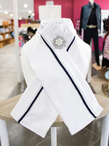 HHD Custom White Satin Pretied Stock Navy or Black