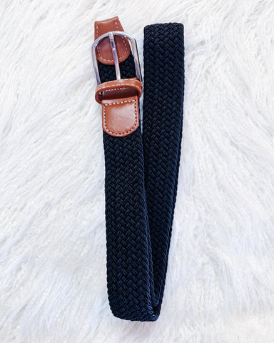 Black Plaited Stretch Belt
