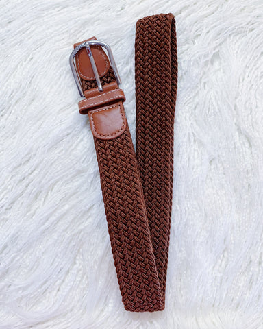 Urban Belt Brown Plaited Stretch Belt