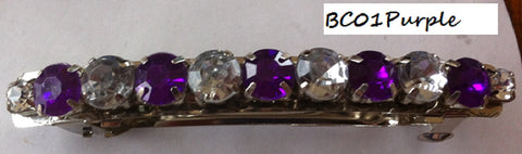 Purple & Clear Barette Clip
