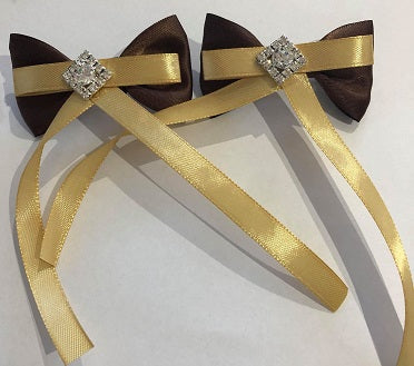 Brown & Gold Hair Bows