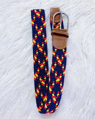 Urban Horsewear Stretch Belt Navy Blue Red & Yellow