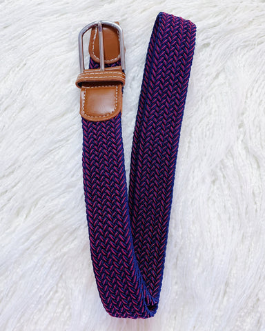 Urban Horsewear Stretch Belt Burgundy/Navy