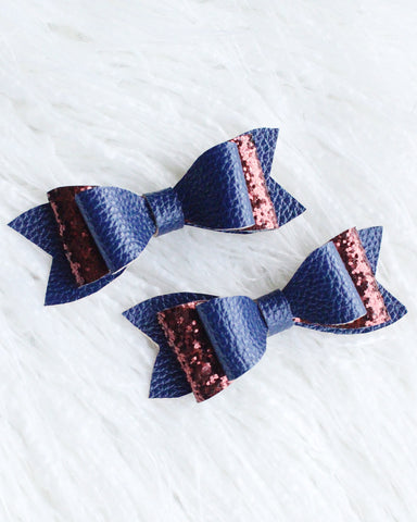 Navy Leather/Brown Glitter Hair Clips
