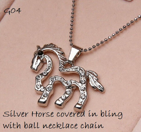 Rhinestone Horse Necklace with Gift Box