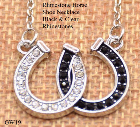 2 Horse Necklace Black & CLear Rhinestones