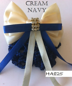 Cream & Navy Blue Hair Bow