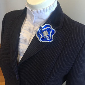 Royal Blue & White Lapel Pin 2cm Rhinestone centrepiece