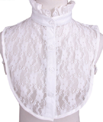Lace Bib Shirt with Ruffle Collar