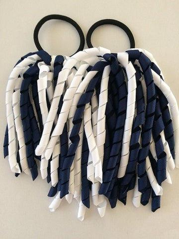 Navy Blue & White Korker Hair Ties