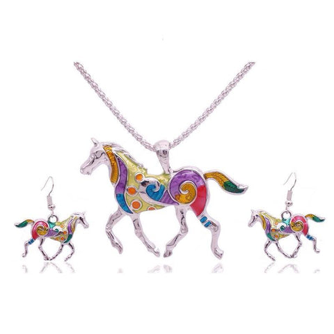 Colourful Horse Necklace & Earrings