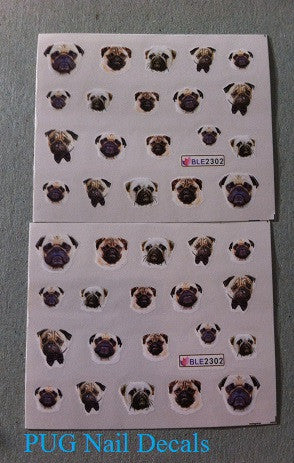 Pug Finger Nail Decals