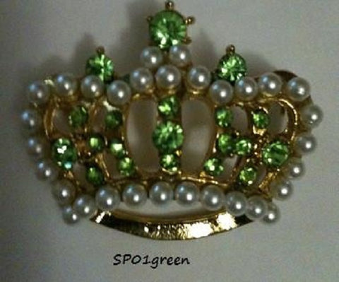 Green Rhinestones & Pearls Crown Stock Pin